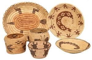 Six Native American Baskets with Animal Figures
