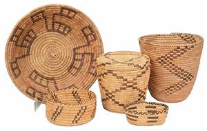 Five Native American Coiled Baskets