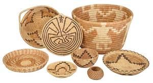 Eight Native American Baskets, Papago