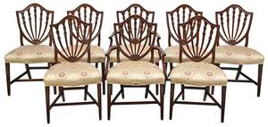 Hepplewhite Style Shield Back Dining Chairs