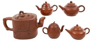 Group of Five Yixing Teapots