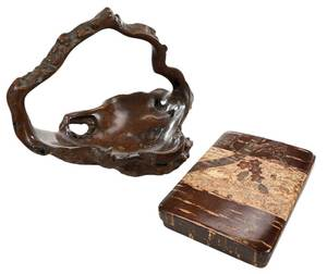 Japanese Lacquer Box and Burl Wood Tea Basket