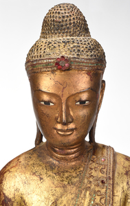 Burmese Carved Gilt Wood Standing Buddha
