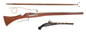 British B.S.A. Target Rifle with Stand and trade Pistol
