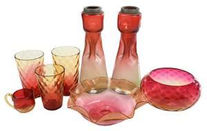 Eleven Pieces Art Glass, Pewabic Tile