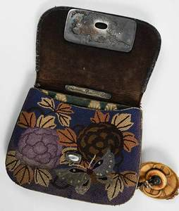 Japanese Embroidered Tobacco Pouch with Netsuke