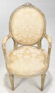 Four Louis XVI Style Upholstered Arm Chairs