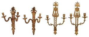 Two Pairs of Louis XVI Style Gilt Wood Sconces