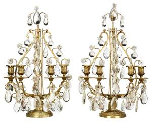 Pair of Empire Style Gilt Bronze Candelabras