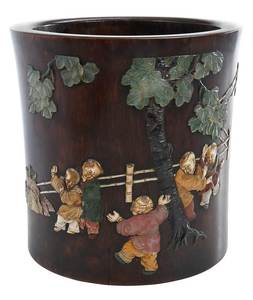 Wooden Brush Pot With Hardstone Inlay