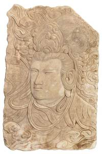 Chinese Carved Marble Relief Plaque of Quanyin