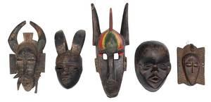 Five West African Carved Masks