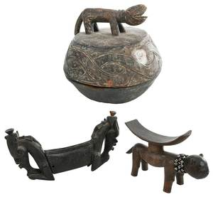 African Divination Bowl and Two Head Rests