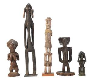 Group of Five African Carved Figures