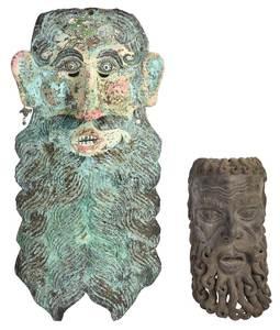 Two Latin American Bearded Dance Masks
