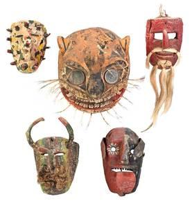 Five Latin American Polychrome Dance Masks