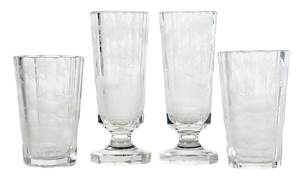18 Piece Set of Cut and Etched Drinking Glasses