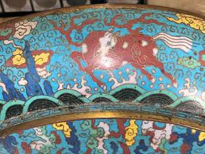 Chinese Cloisonne Dragon Charger
