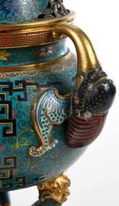 Fine Chinese Cloisonne and Gilt Lidded Censer