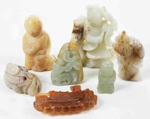 Seven Jade/Hardstone Carved Figures