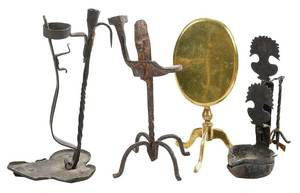 Group of Four Brass and Iron Accessories
