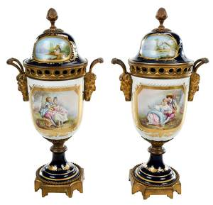 Near Pair of Sevres Style Lidded Urns