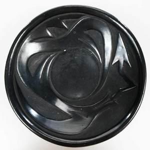 Five Signed Santa Clara  Blackware Pots