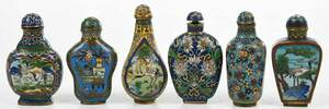 Six Chinese Cloisonne Snuff Bottles