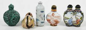 Five Earthenware Chinese Snuff Bottles
