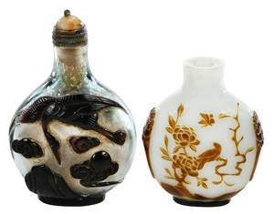 Two Double Overlay Chinese Carved Snuff Bottles