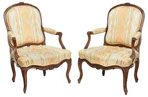Pair of Provincial Louis XV Signed Armchairs