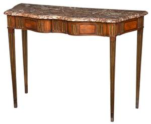 Louis XVI Brass, Kingwood and Tulipwood Console