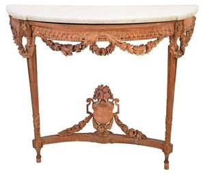 Louis XVI Carved Oak Wall Mounted Console