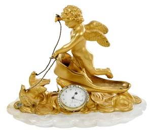 French Gilt Bronze and Rock Crystal Clock