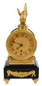 French Empire Gilt Bronze and Marble Clock