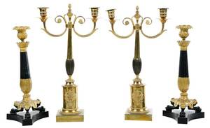 Two Pairs Empire Style Gilt Bronze Candlesticks