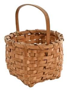 Miniature Oak Split Basket with Carved Handle