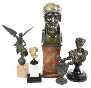 Five Bronze Grand Tour Figural Objects, Vessel