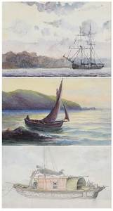 Three Framed British Maritime Watercolors
