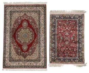 Two Silk Hand Knotted Rugs