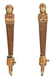Near Pair French Empire Figural Tole Sconces