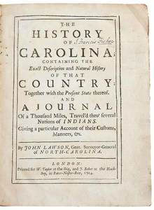 Lawson's History of Carolina, 1714 and 1860