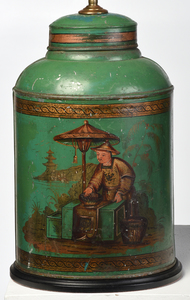 Four Tole Painted Tea Canister Lamps