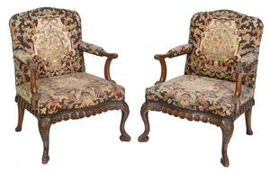 Pair Queen Anne Style Upholstered Armchairs