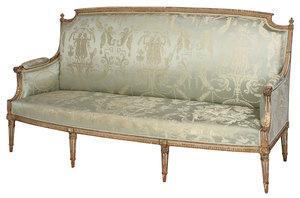 Fine Louis XVI Carved, Painted, Gilt Wood Settee