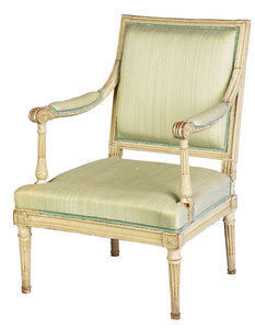 Louis XVI Carved and Paint Decorated Fauteuil