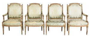 Suite of Four Louis XVI Carved and Painted Fauteuils