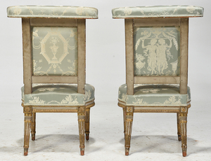 Pair Louis XVI Carved and Painted Voyeuses