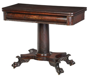 American Classical Stencil Decorated Card Table