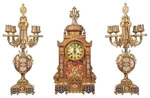 Fine Tiffany Gilt Bronze Champlevé  Clock Garniture
